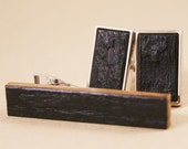 Whiskey Barrel Cufflink and Tie Bar Gift Set - Rectangle Silver