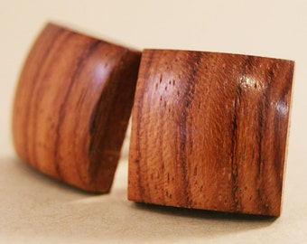 Solid Wood Cufflinks - African Bubinga
