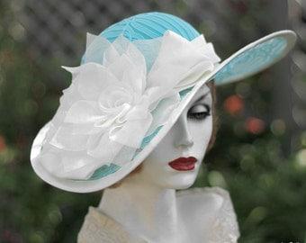 Wide Brim Summer Sun Hat, Womens Trendy Fashion Wedding Garden Party Tea Races Church Aqua Blue Lace