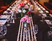 GOLD POLKA DOT Table Runner- Black Stripe Runner - or Napkins -or Placemats  Rounds, Squares Black white - Gold metallic polka dots,  bridal
