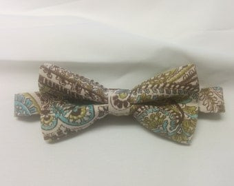 PAISLEY BOWTIE or HANKY All Sizes Pocket Square, Bowtie-Brown, tan, aqua, or  Black and white Wedding Party Tie Men Boys Toddler