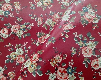 3958 - Cath Kidston Kingswood Rose (Dark Carmine Red) Oilcloth Waterproof Fabric - 28 Inch (Width) x 17 Inch (Length)