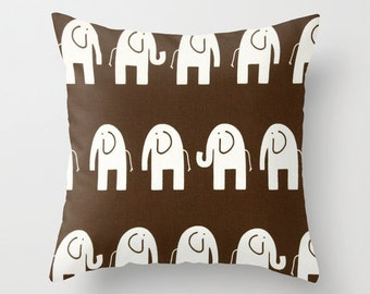 Nursery Pillow Cover Elephant Pillow Brown Pillow Cover Cushion Cover