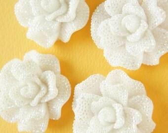 2 pcs Huge Bling Gorgeous Rose Cabochon (45mm) AB White FL363