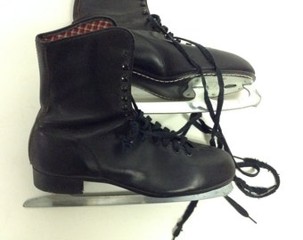Mens Vintage Black Leather Ice Skates 11