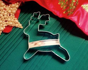Reindeer Christmas Handmade Cookie Cutter With Custom Handle By West Tinworks