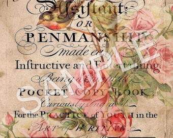 Vintage Altered Penmanship Book Cover -  Printable Digital Collage Sheet - Digital Download - Romantic French