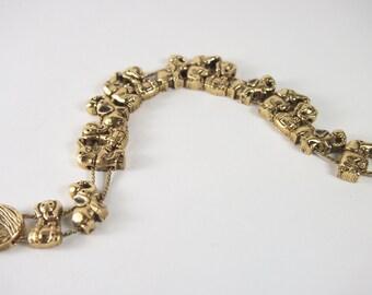 Tofa BG Playing Elephant Slide Bracelet Vintage 70s 80s Jewelry