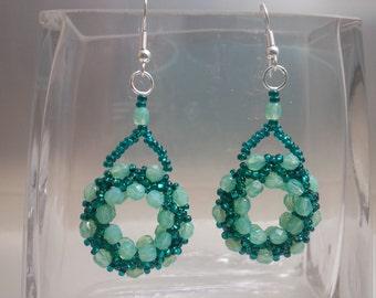 Aqua/Turquoise Beaded Ring Earrings