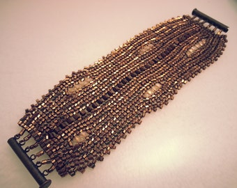 Copper Handstitched Seed Bead & Crystal Bracelet Cuff