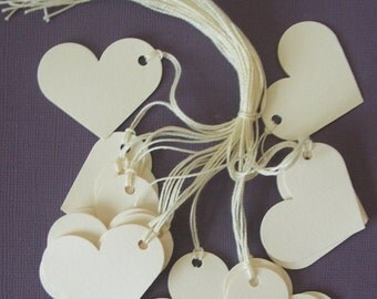50 cream heart shaped strung tags party gift baby shower wedding 1.1/2 inches x 1.