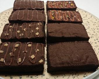 Felt Brownies, play food, chocolate brownies,chocolate sweets, realistic play food, brownies with nuts, brownies with frosting, M & M's