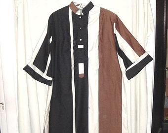 On Hold for scans 60s Catherine Ogust Brown Black White Stripe Forever Dress w/ Sash