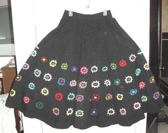 Vintage 60s Black Flower Embroidered Mexican Tourist Skirt 32 Waist Hippie