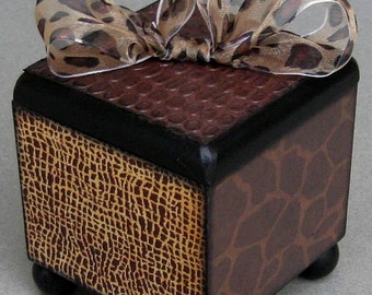 Safari Animal Print Keepsake Trinket Lift Top Decorative Box