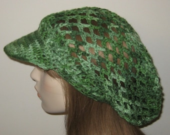 Billed Mesh Dread Tam in Shades of Green