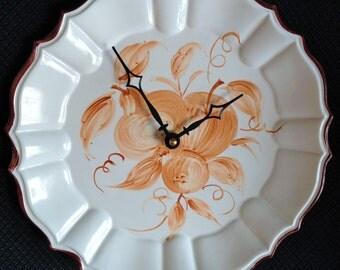 Burnt Sienna & Ivory Vintage Italian Ceramic Fruit Plate Clock-Italy Hand Painted Plate Clock-Ornate Design-Porcelain Plate Clock
