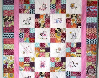 Baby Quilt designer fabrics and animal embroidery 40 x 51