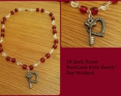 """19"""" Red & White Glass Necklace"""