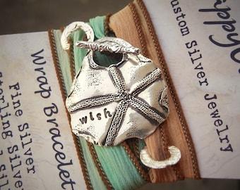 Starfish Jewelry, Silk Ribbon Bracelet, Starfish Bracelet Beach Jewelry, Fashion Jewelry, Beach Fashion Jewelry Wrap Bracelet, Starfish