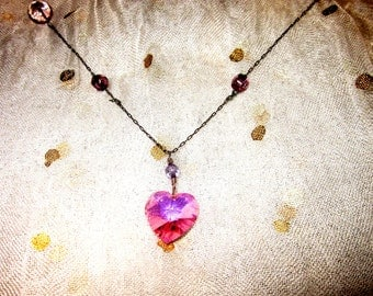 Pink Swarovski Heart on Silver Chain with Glass Beads