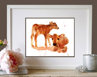 CALVES Art Print, farmyard art, 8x10 print, ready to frame, animal paintings