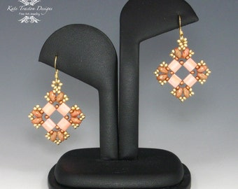 Tila Earrings, Peach, Gold