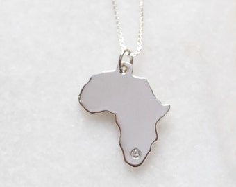 Sterling Silver Africa + Diamond + Chain