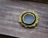Crochet sea glass brooch Valentine gift for her brown olive green circle jewellery handmade boho Birthday gift for her flower