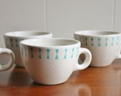 1950s Homer Laughlin porcelain cups with turquoise, diner coffee cups