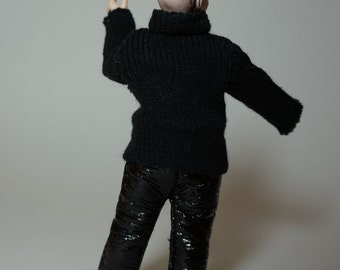 wearable black Leather Trousers / Biker Pants - 1/12th scale miniature fashion by cwpoppets