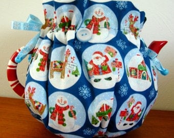 Tea Cozy for Christmas, Sparkly Jolly Santa Circles Reversible Tea Cozy