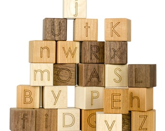 Alphabet Blocks Toy - Learning Toy- Developmental Toy- ABC Toys- Baby Gift- Wood Blocks- Engraved- Building Blocks - Wood Toy -BL22