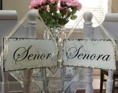 SENOR and SENORA Wedding Chair Signs - Mr. and Mrs. Chair Signs - Bride and Groom Chair Signs - 9 x 5 inches