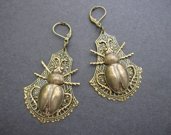 Bold Beetle Earrings, Statement Earrings, Scarab, Insect, Bold Steampunk,  Unusual, Cosplay Jewellery, Bug, Brass Ox, Gothic Jewelry, Nature