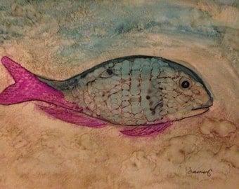 Blue Fish Original 5x7 Alcohol Ink Painting on Yupo