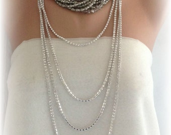 Boho Bride Wedding Necklace,     Chunky  Bridal  Pearl and Rhinestone Necklace. 2 in one