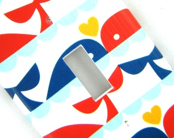 Light Switch Cover Switchplate -- Whales and Hearts