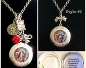 Beauty and the Beast Stained Glass Locket Necklace