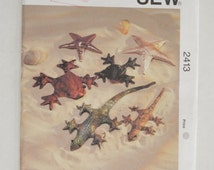 1990s UNCUT Kwik Sew Crafts Sewing Pattern 2413 Sand Bag Animal Designs, Beanie, Toy Gecko, Starfish & Frog