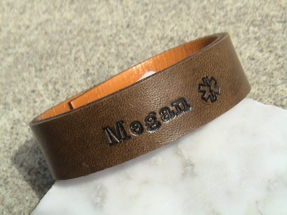 Medical Alert - For Your Eyes Only - 5/8 inch wide Leather Wristband with text on inside and out - with or without topstitching.