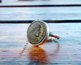 Ancient Roman coin ring,  cocktail ring, sterling silver ring, Unique authentic antique roman coin ring