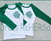Girls or Womens green raglan t with chevon shamrock and monogram Perfect for Saint Patricks Day