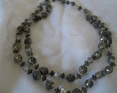 VINTAGE Double Strand Metal Rose Bead & Crystal Bead Costume Jewelry Necklace