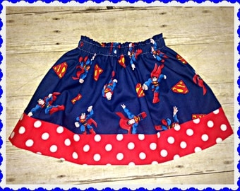 Girls superman skirt Super Hero 12m 18m 2t 3t 4t 5t 6X 7 8 9 10 12 14 16 ready to ship