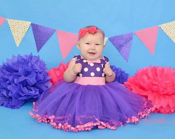 MINNIE MOUSE dress TUTU  Party Dress  in purple Polka Dots with pink super twirly  dress 1st Birthday party