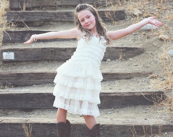Holiday Party Dress, Flower Girl Dress~Lace Flower Girl Dress~Rustic~Country Flower Girl~Lace Dress~Ivory Lace Dress~Vintage  Dress
