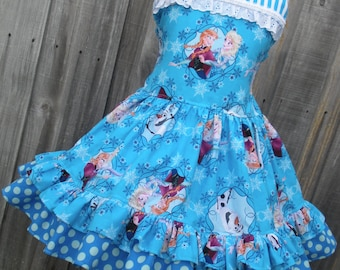 Made to Order Custom Boutique Disney Frozen Anna Elsa  Dress Girl Made in your Size 2 3 4 5 6 7 8