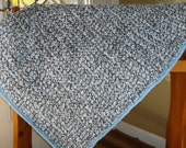 Hand Crocheted Baby Blanket In Blue,Grey and White Beautiful Baby Quilt Ready To Ship
