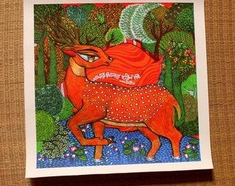 Golden Deer CANVAS print